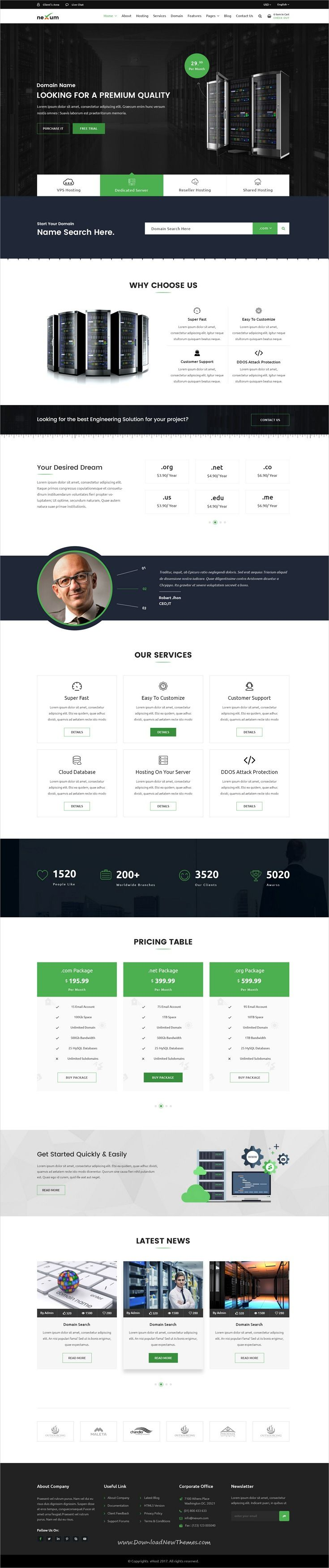 nexum host hosting and domain psd template psd templates