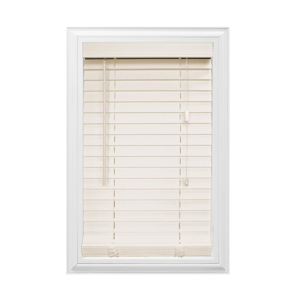 Home decorators collection cuttowidth beige in faux wood blind
