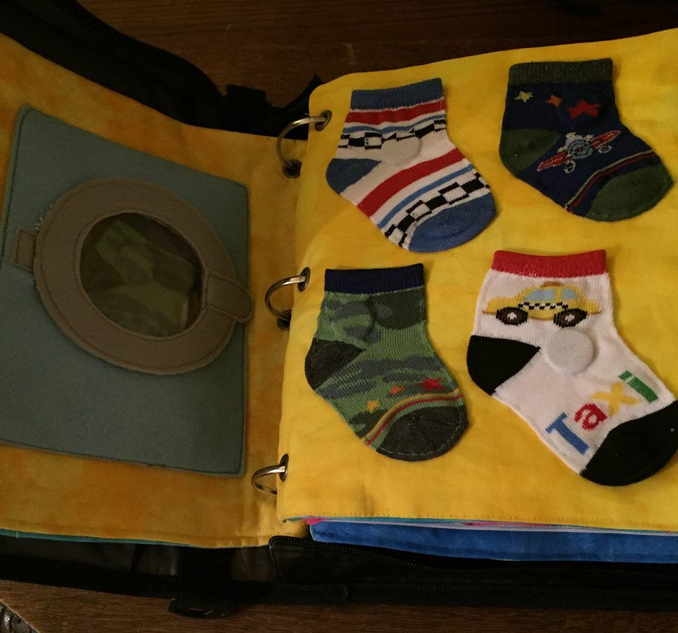 My Quiet Book - Boy, pages 1-2, matching socks from the laundry.