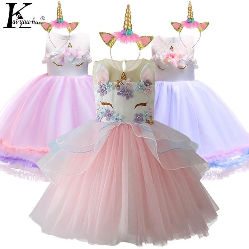 girls dress age 5-6-7 Unicorn Princess sundress Party wedding flowergirl Easter