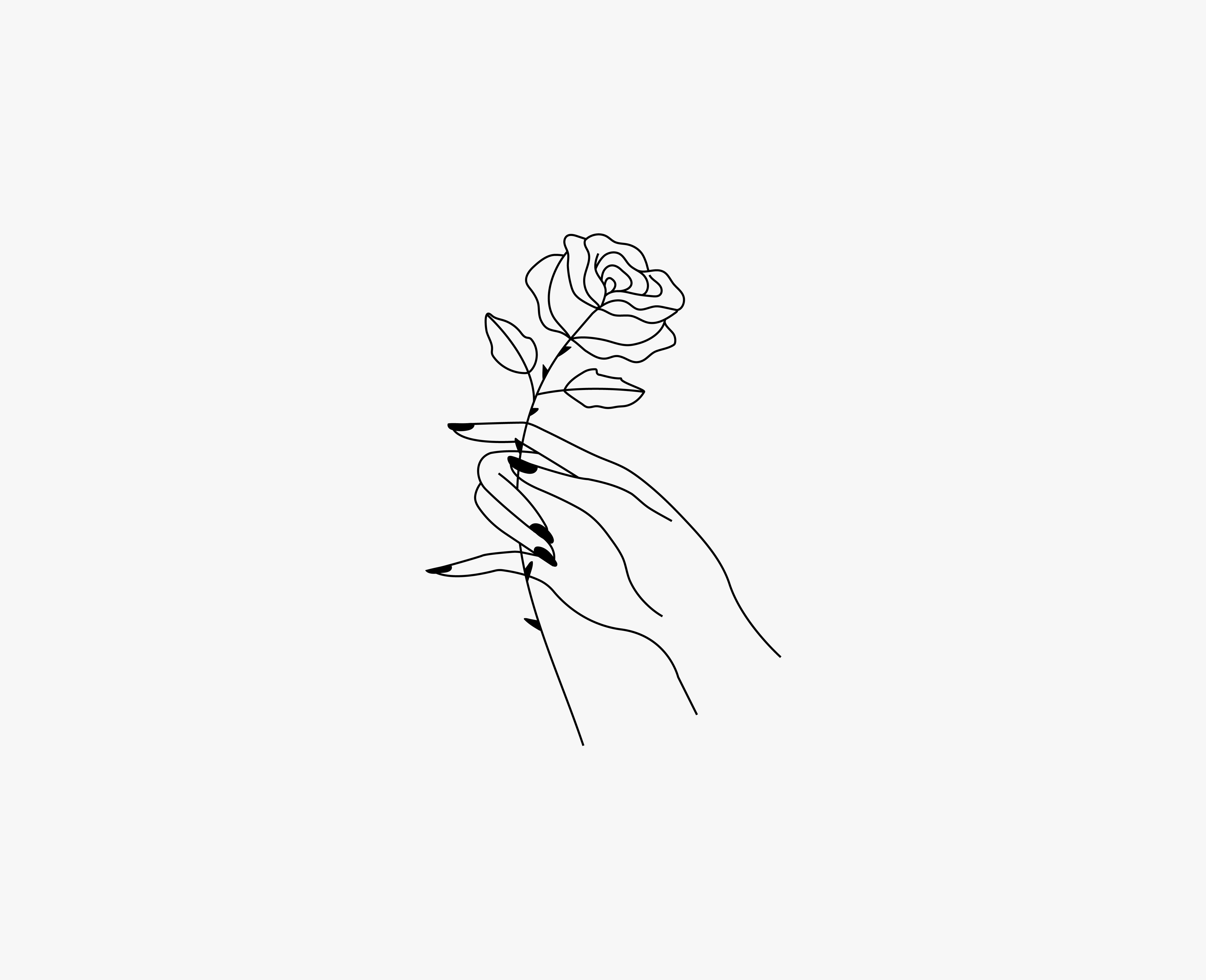 Rose Hand Minimal Illustration Small Tattoo Idea Design Custom Logo Design Simple Branding Watercolor Rose Tattoos How To Draw Hands Minimal Tattoo Design