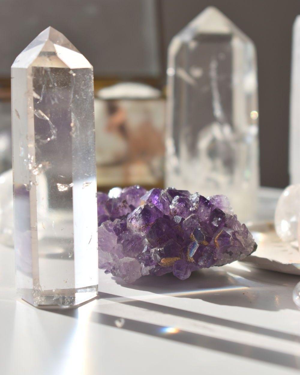 Pouvoir Magique Du Cristal De Roche : pouvoir, magique, cristal, roche, Quartz, Améthyste, Lithotherapie,, Encens, Naturel,, Cristaux