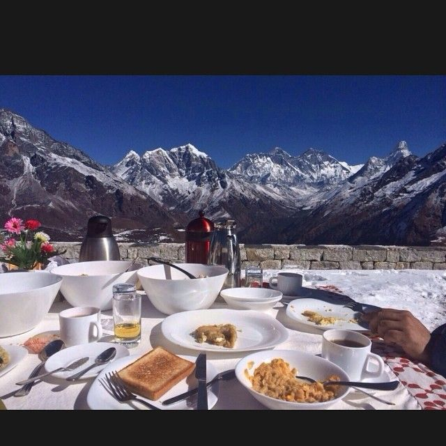 """Sighting Mt. Everest - breakfast with a view #myview #travel #nepal #mountains #himalayas #myadmireres #food #travel #nepal #kongde"""