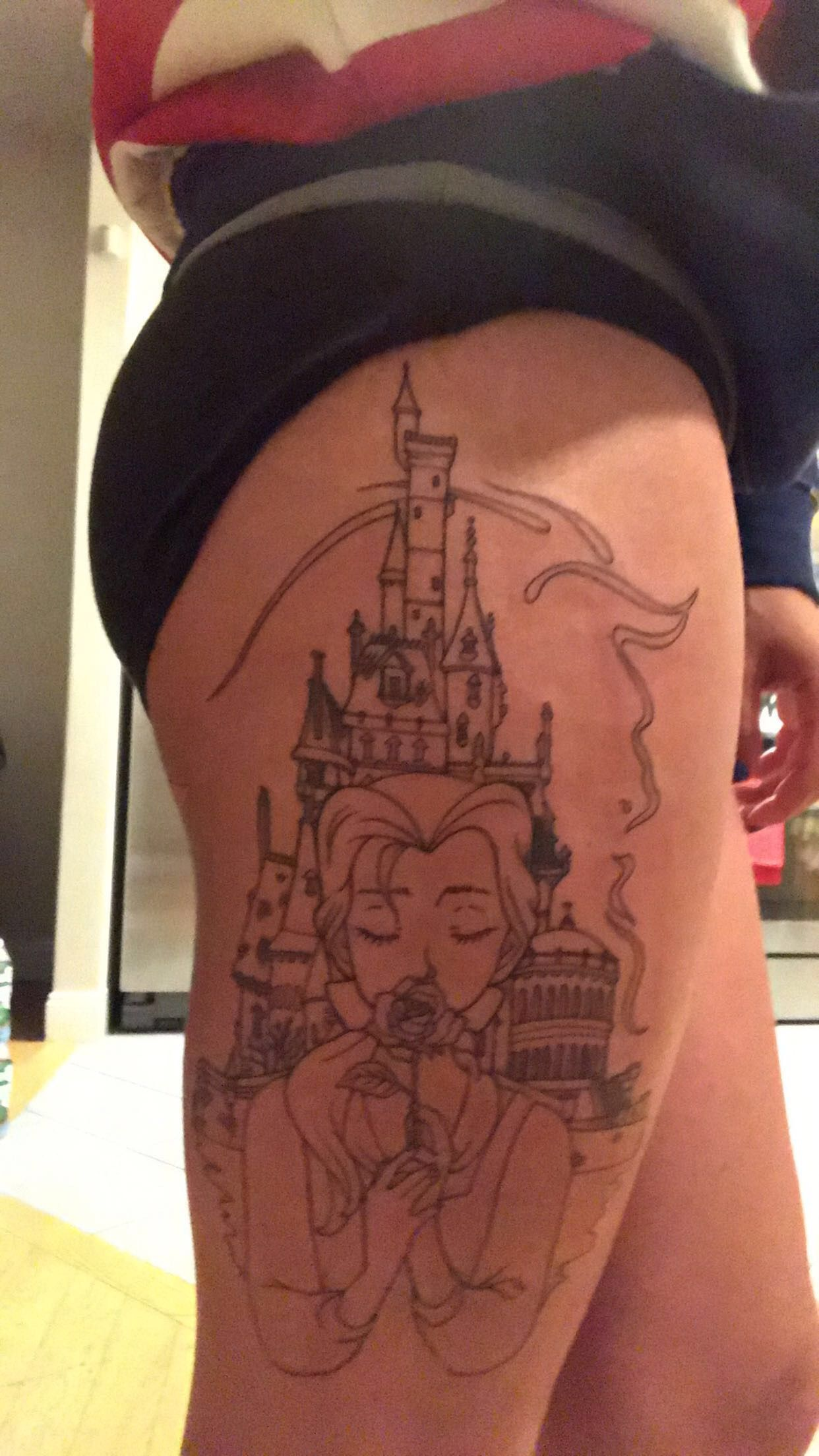 My Disney Beauty And The Beast Tattoo Outline