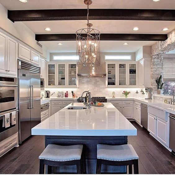 White Kitchen Yes Or No: Dream Kitchen By @thebowenteam Would You Add Beams In Your
