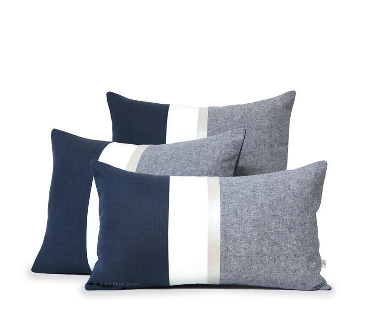 Navy Chambray Pillow Covers with Metallic Silver Stripe #JillianReneDecor