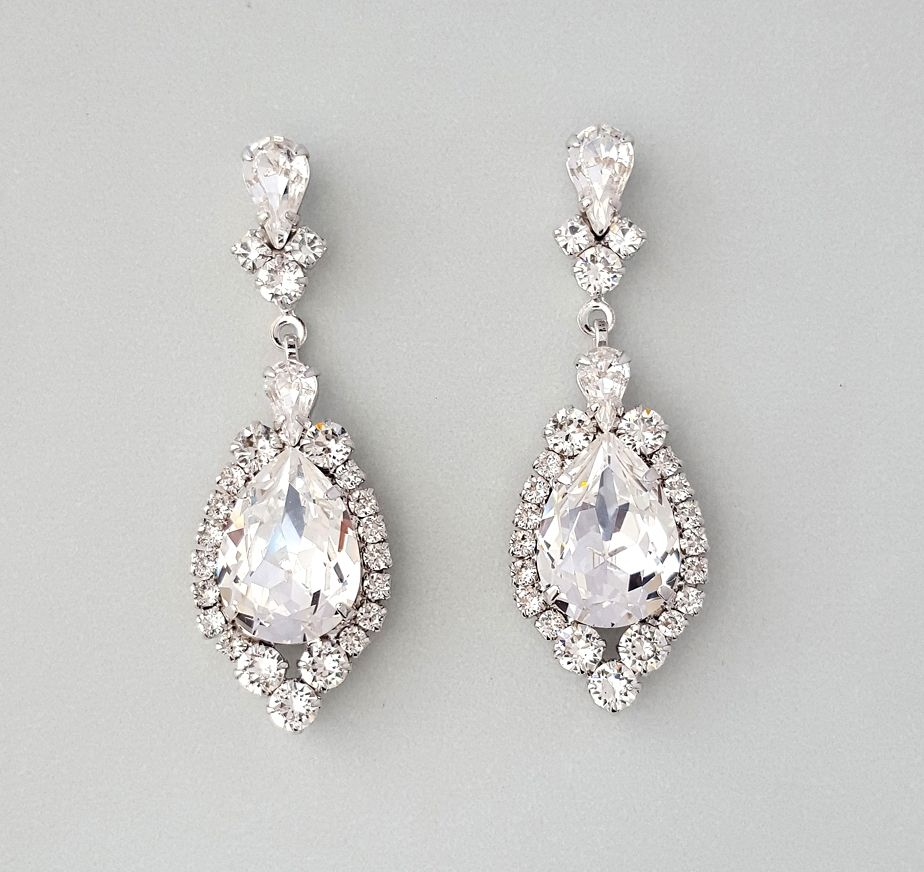 Lovely Crystal Teardrop Swarovski Earrings Simplistic Timesless