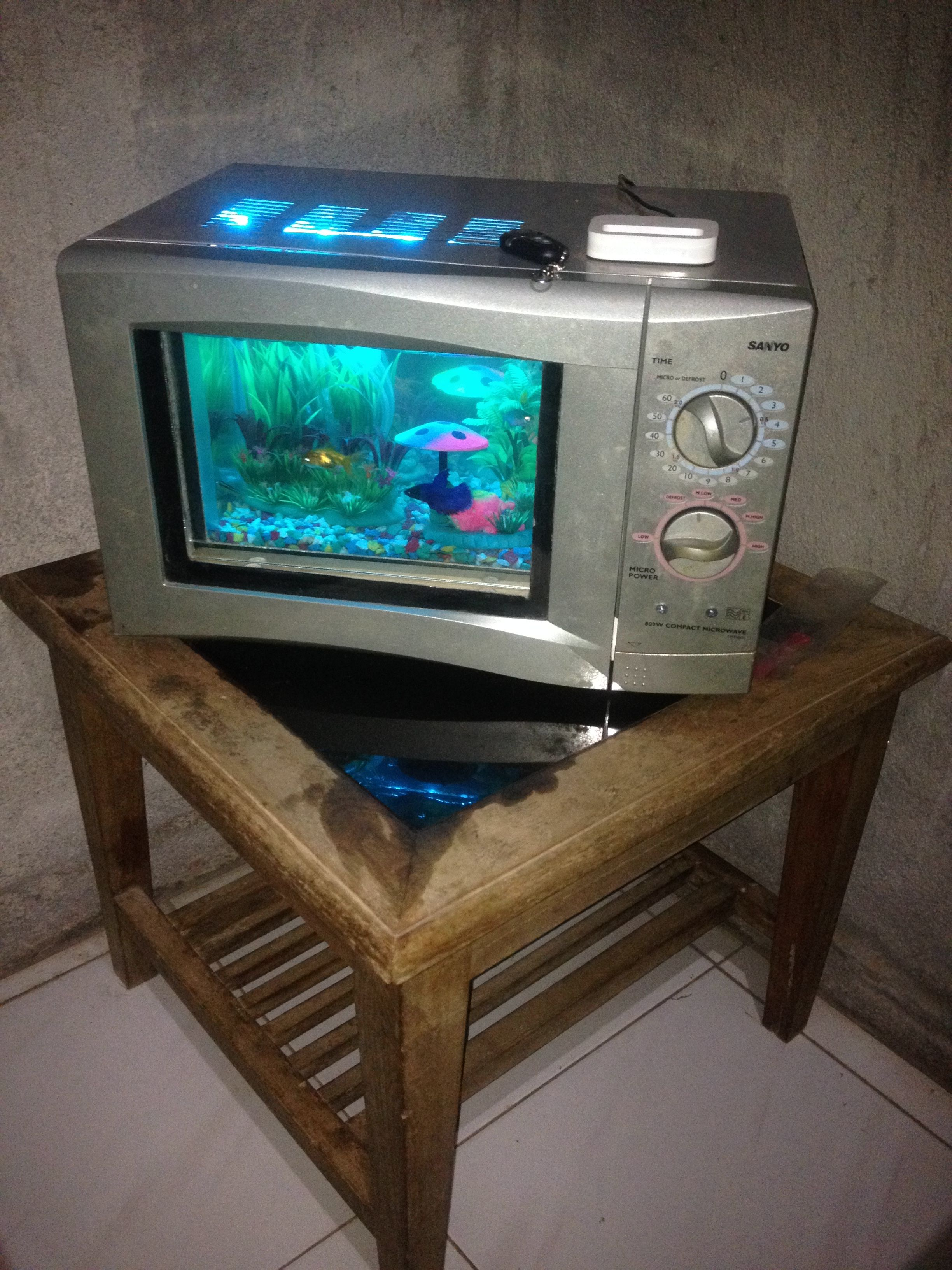 Aquarium Broken Microwave Music Dok Charger Led Rgb