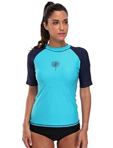97b06dd692a Attraco womens rash guard shirt short sleeve rashguards r... | Alexa ...