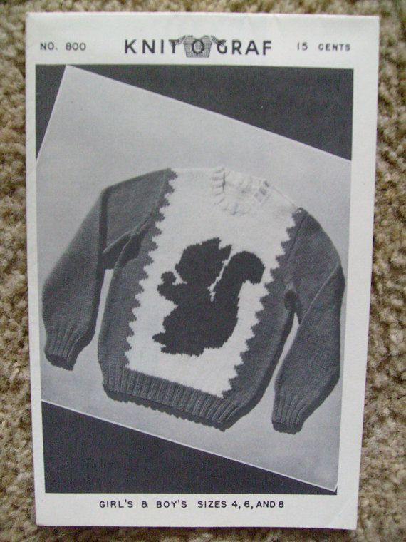 sold by owner Knit-O-Graf #232 Vintage Squirrel Sweater Knitting Pattern!