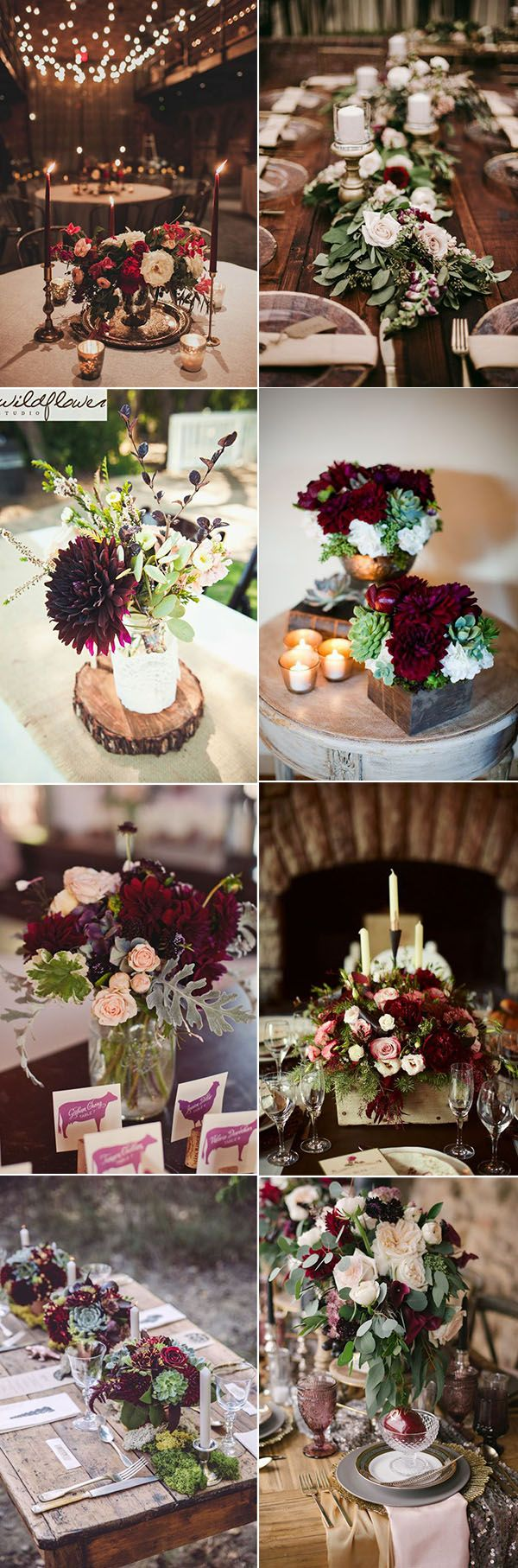 50 refined burgundy and marsala wedding color ideas for fall brides beautiful burgundy wedding centerpieces ideas for any wedding themes junglespirit Choice Image