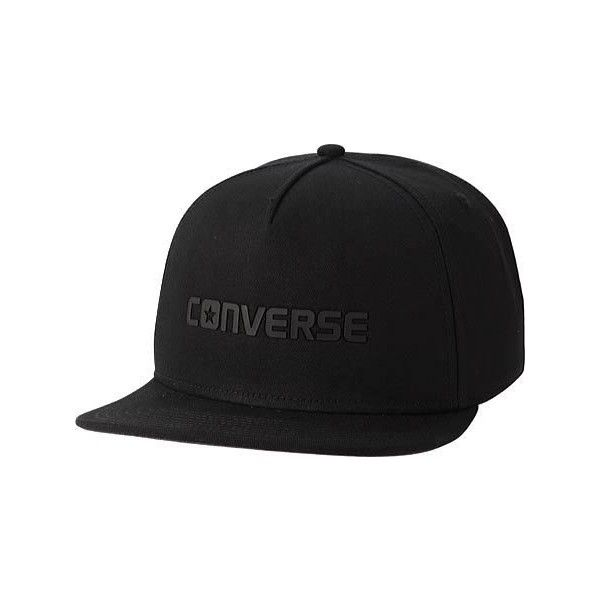 72fbee185 Converse Rubber TPU Snapback Baseball Cap - Black ($25) ❤ liked on ...