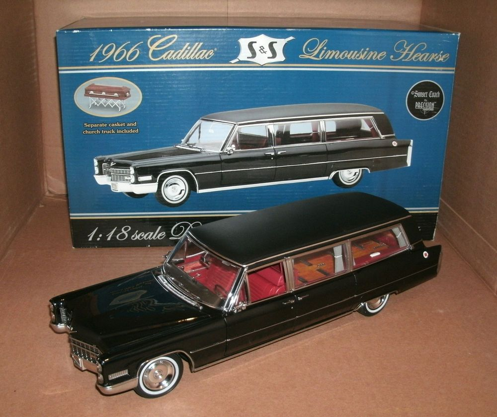 1 18 1966 cadillac fleetwood limousine hearse diecast model funeral car
