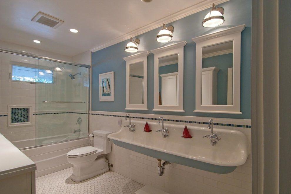 Bathroom trough sink bathroom traditional with wall mounted sink