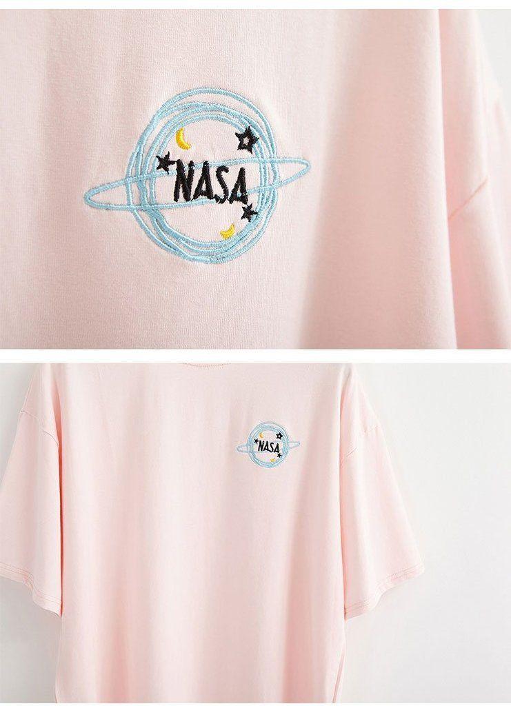 e8ff0d89a6fc6 itGirl Shop NASA EMBROIDERY BADGE BLACK COTTON O-NECK T-SHIRT ...