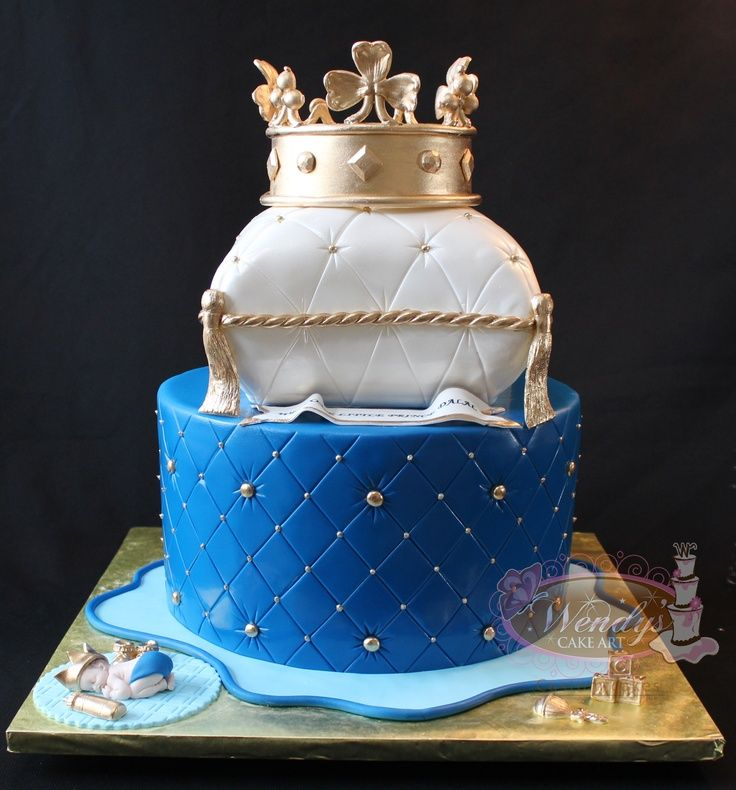 Pillow cake with crown Not the colors just top design bottom can