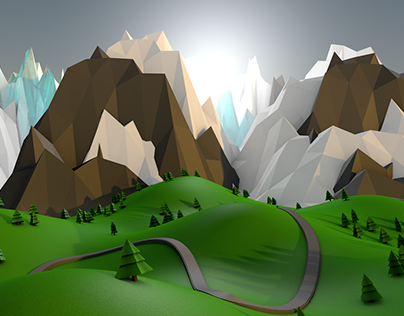 """Check out new work on my @Behance portfolio: """"Low Poly Mountain Scene"""" http://be.net/gallery/38205089/Low-Poly-Mountain-Scene"""