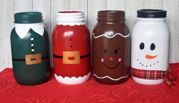 Items similar to Christmas Mason Jars / Quart Mason Jar / Christmas Decorations / Santa Mason Jar / Snowman Mason Jar / Gingerbread Mason Jar / Elf Mason Jar on Etsy
