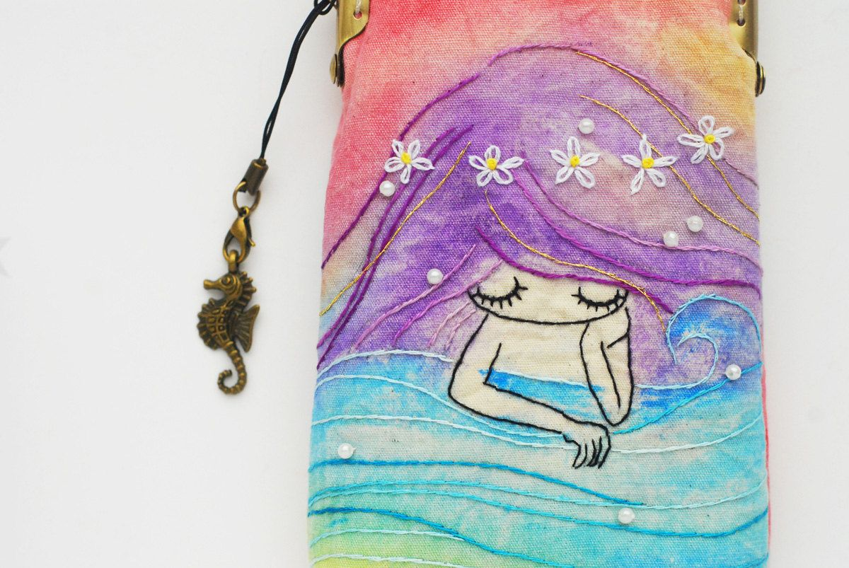 iPhone Case gadget case Vintage Embroidery mermaid by lazydoll
