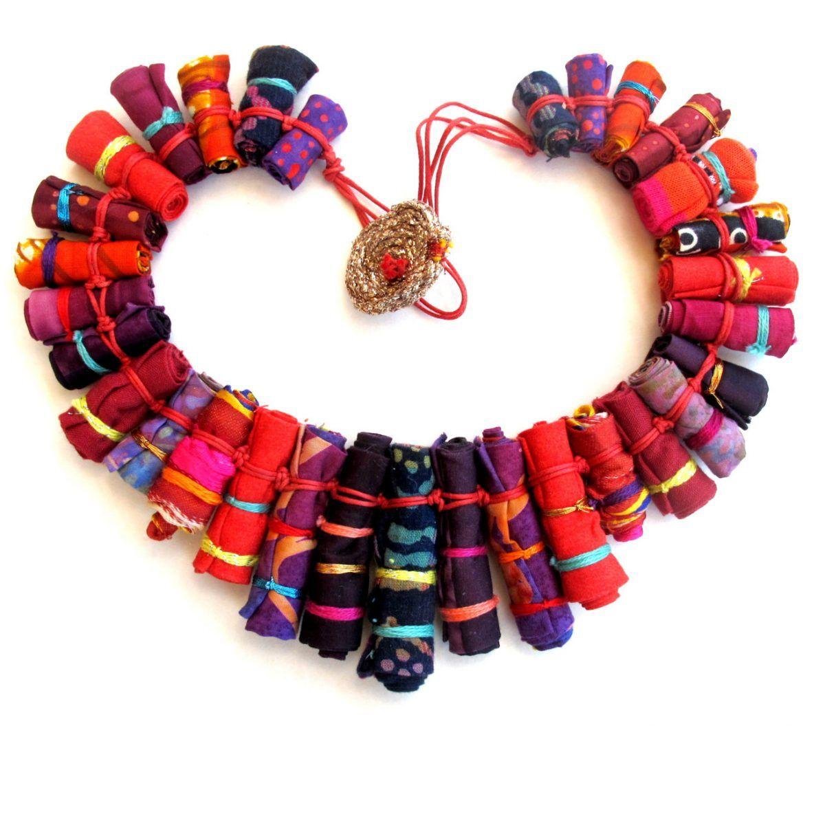 Gilgulim Red Valentine\'s Cloth Necklace Heart | bijoux | Pinterest ...