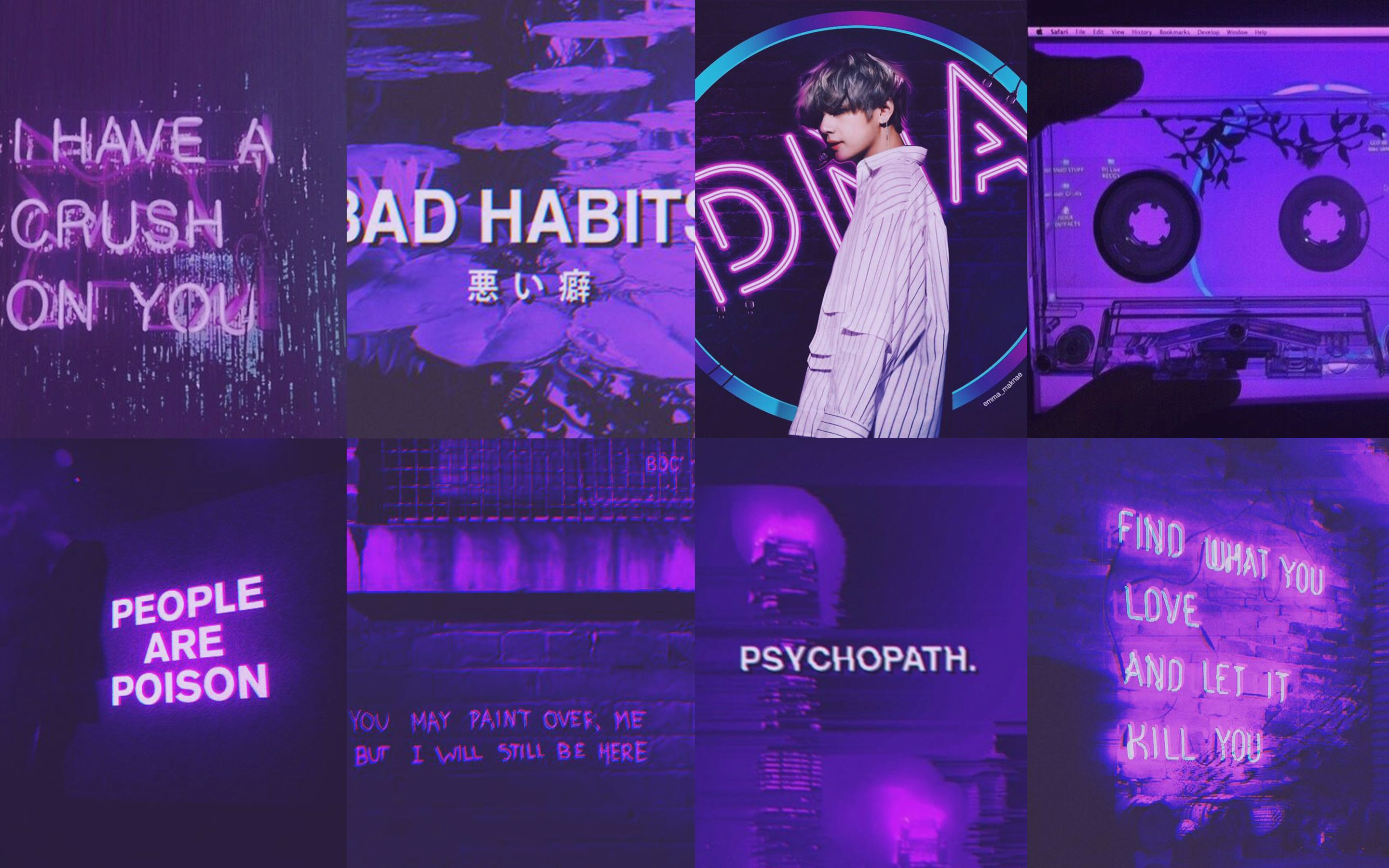 Break out your top hats and monocles;. Tumblr Neon Wallpaper Neon Purple Aesthetic Collage ...