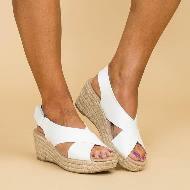 db60c1ab7 Women Peep Toe Magic Tape Wedges Crossed Sandals in 2019 | Sabates | Sandals,  Wedge sandals, White sandals