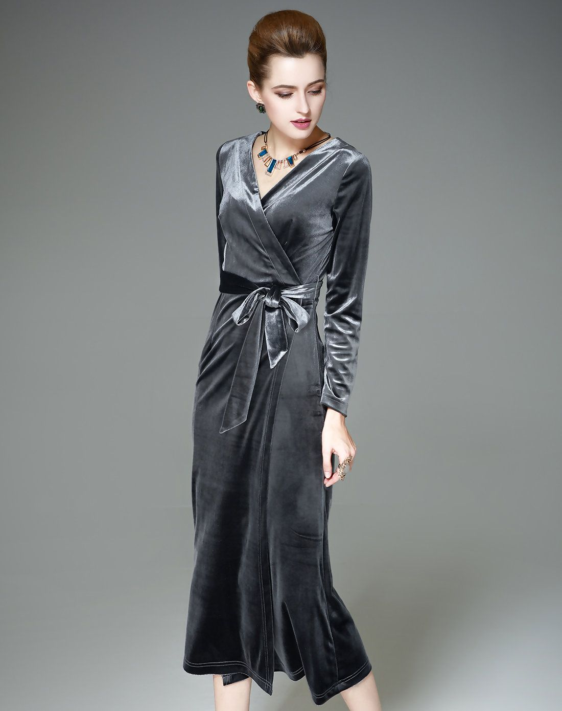 Adorewe qeexi velvet overlap long sleeve h line silver long dress