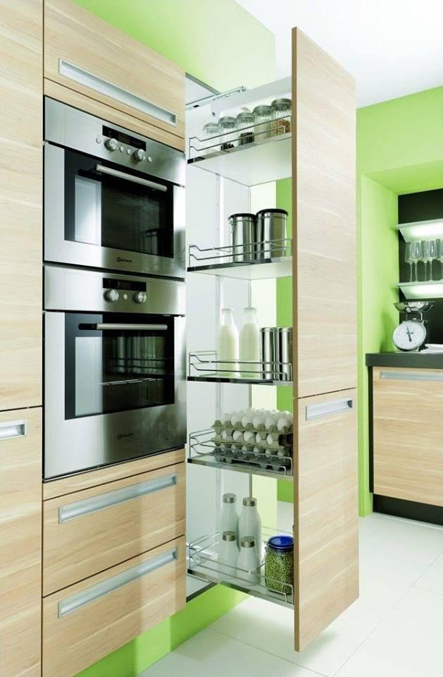 Alacena entre el horno y la nevera kitchen inspiration - Mueble para nevera ...