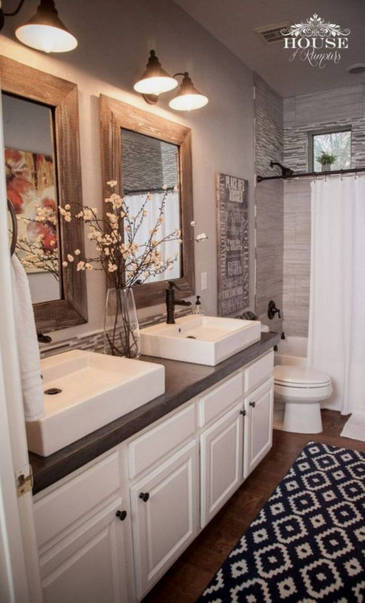 Awesome 88 modern rustic farmhouse style master bathroom for Farmhouse modern style
