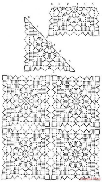 37+ Ideas For Crochet Granny Square Shawl Pattern Charts #