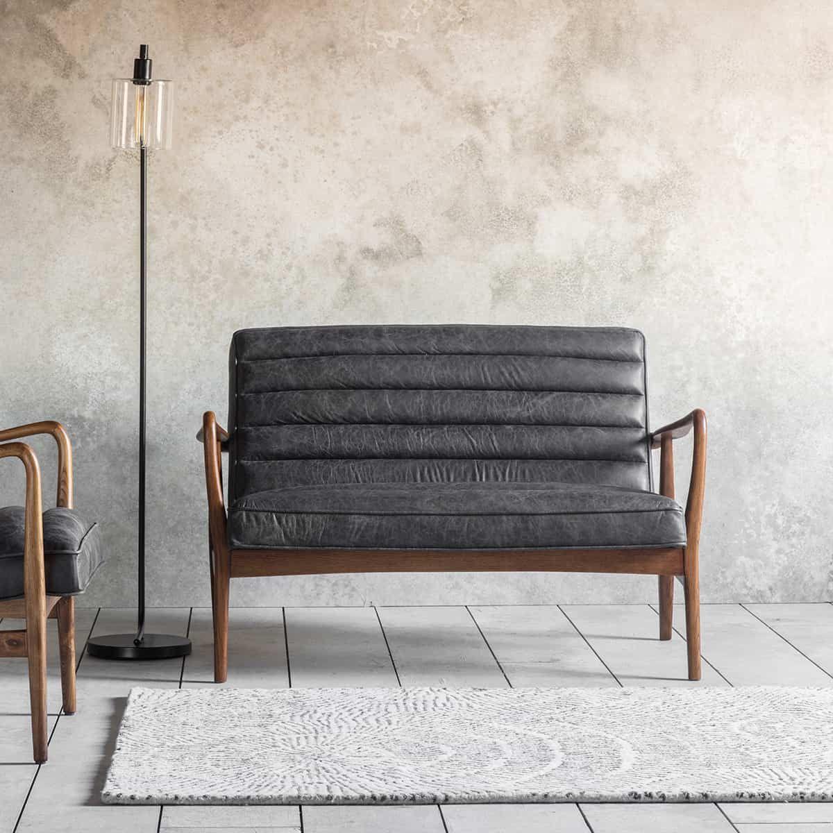 Datsun 2 Seater Sofa Antique Ebony Love Home Living Leather Loveseat Leather Sofa Antique Sofa
