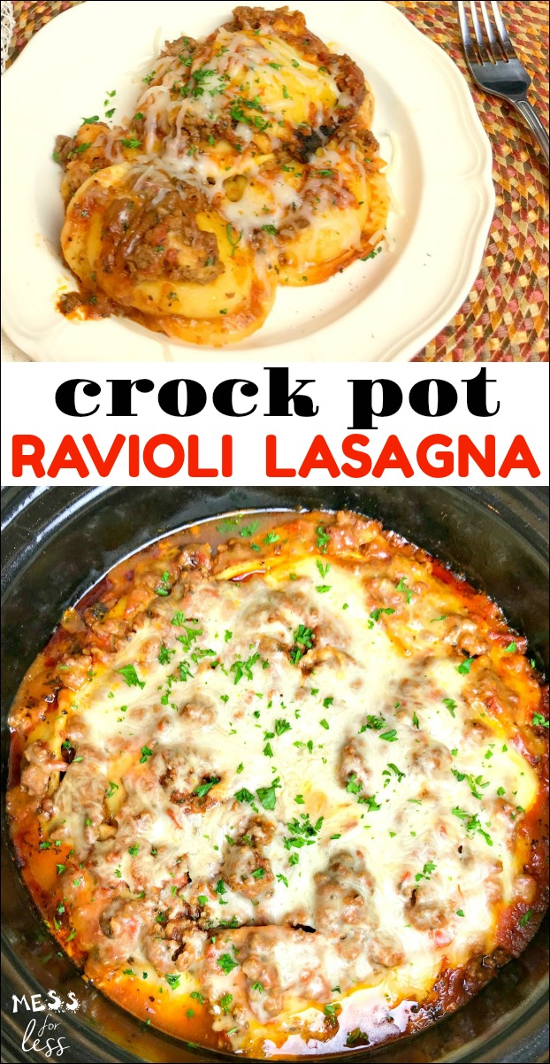 Ravioli Lasagna in the Crock Pot - Mess for Less #crockpotlasagna