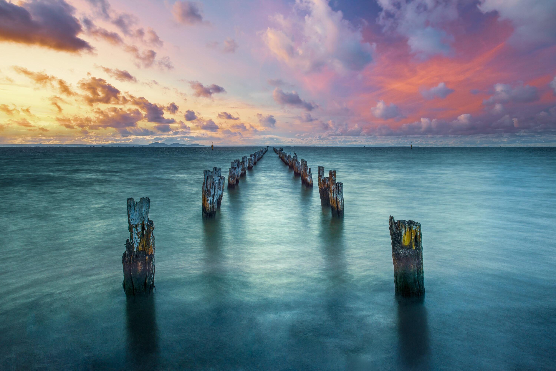 Body Of Water Jetty Sea Clouds Sky Landscape Nature 2k Wallpaper Hdwallpaper Desktop Sky Landscape Hd Wallpaper