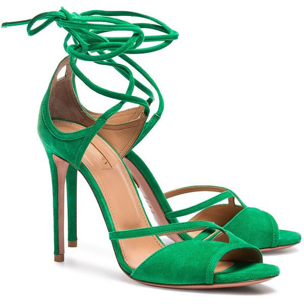a9852fdaf66cf Aquazzura Green Nathalie 105 suede sandals ($615) ❤ liked on Polyvore  featuring shoes, sandals, suede sandals, aquazzura shoes, green suede shoes,  suede ...
