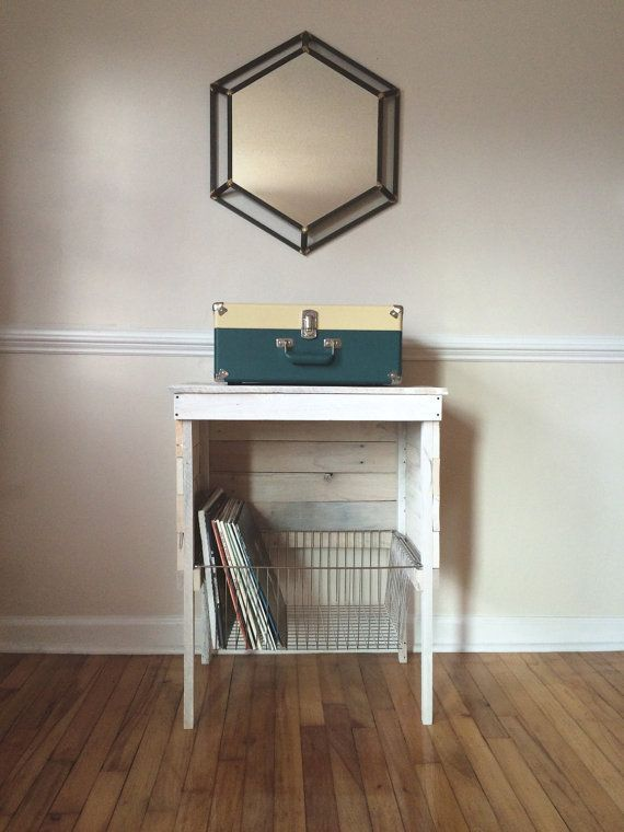 White Washed Reclaimed Record Player Storage Stand By Reachandgrow