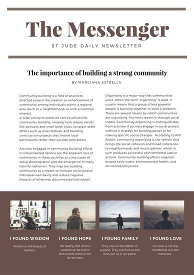 Brown Simple Church Newsletter  Newsletter Templates