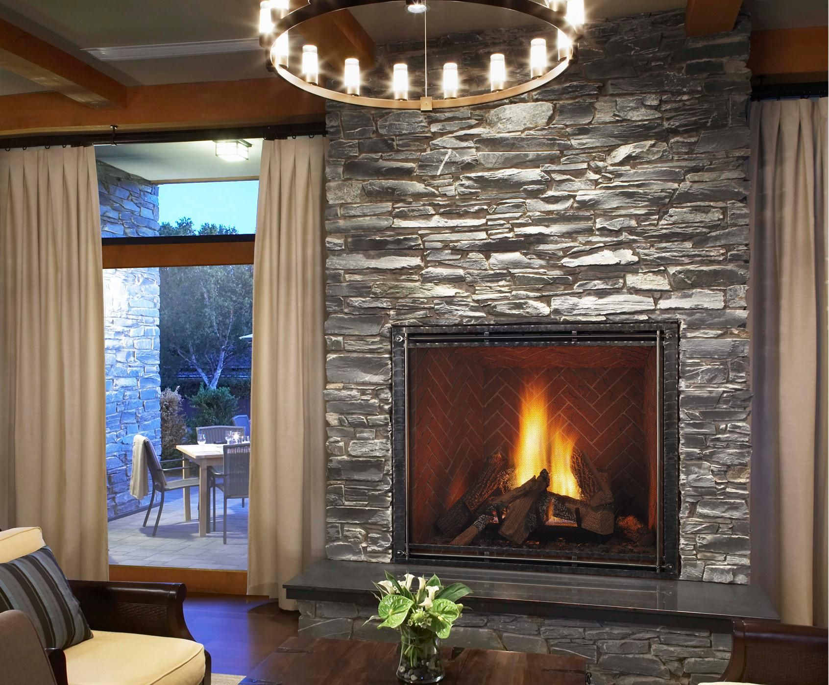 modern interior design and with the fireplace and the