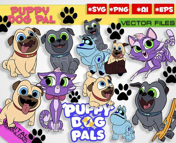 Puppy Dog Pals Svg 13 Files Rolly Bingo Hissy A R F Clipart Puppy