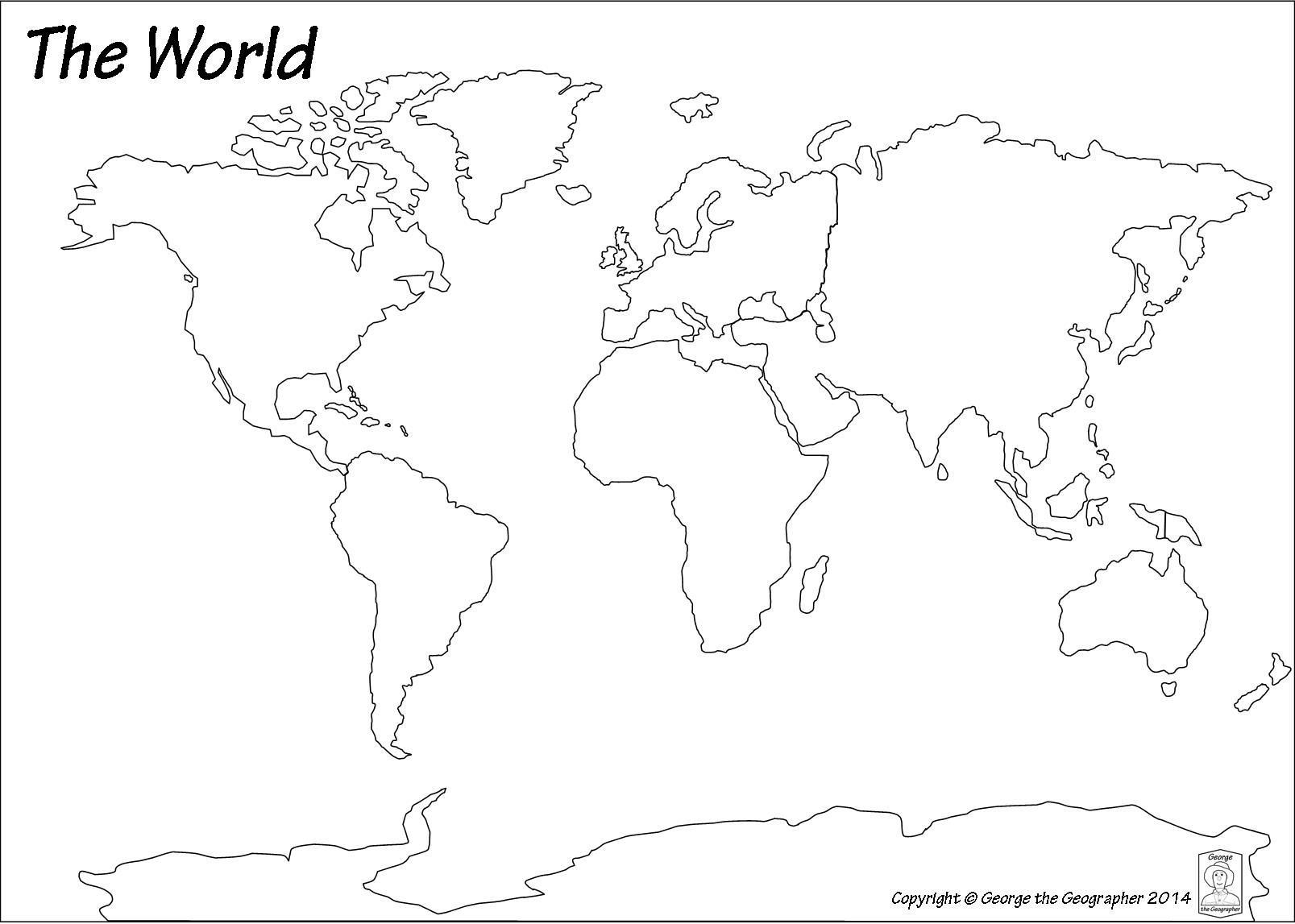 Blank Map Of World In Continents And Oceans