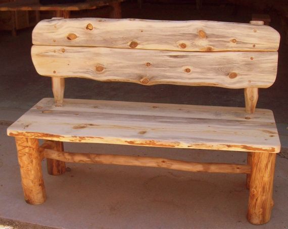 Rustic Wood Bench With Back Made From Aspen Logs Sustainable