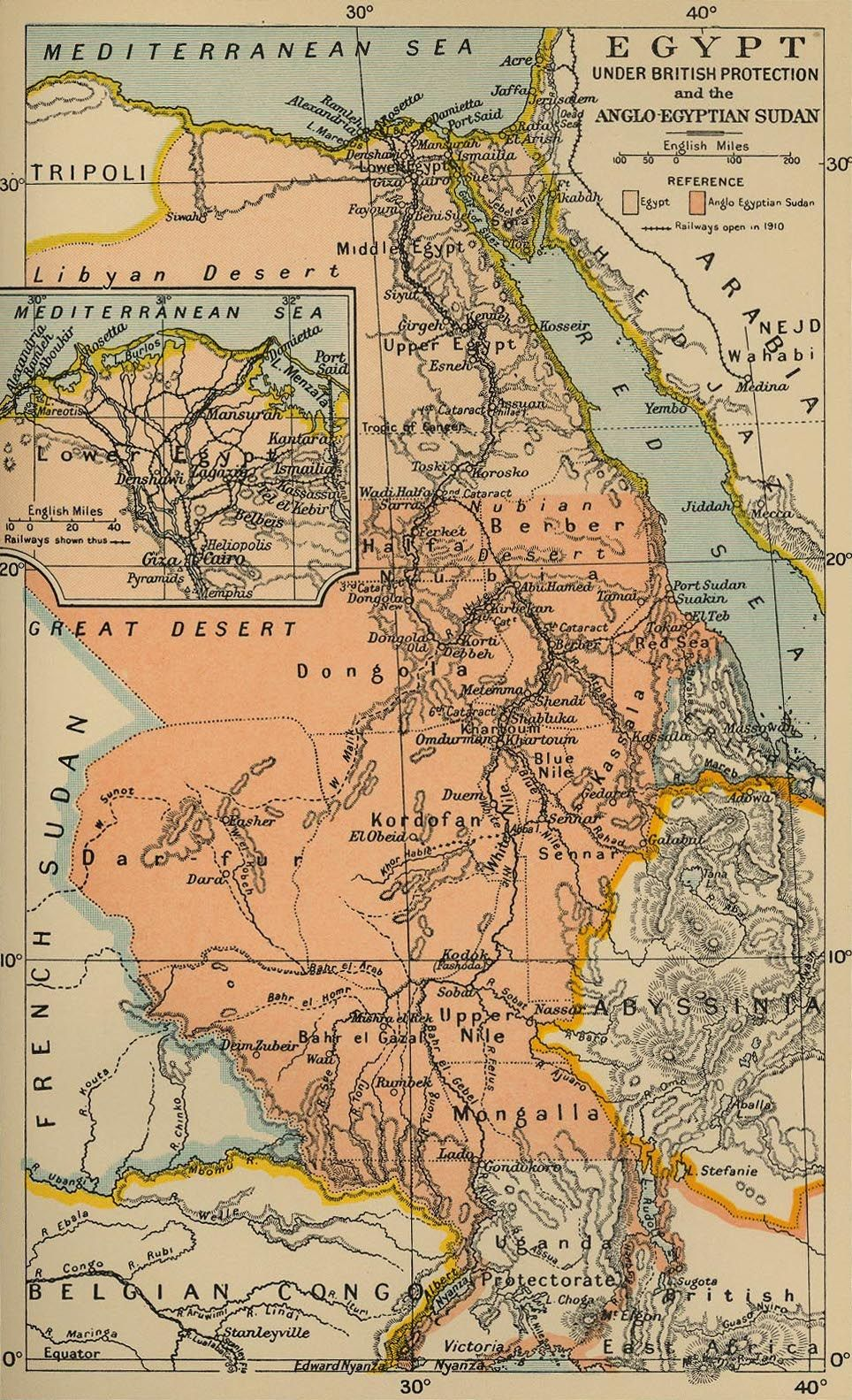 British Controlled Egypt And Anglo Egyptian Sudan 1910 Egypten