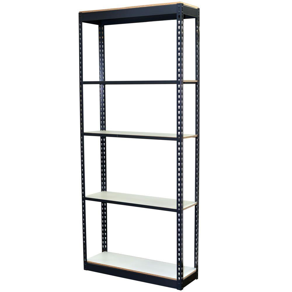Storage Concepts 96 In H X 36 In W X 12 In D 5 Shelf Steel Boltless Shelving Unit With Low Profile Shelves And Laminate Board Decking P2a5 3612 96l Boltless Shelving Steel Shelving Unit