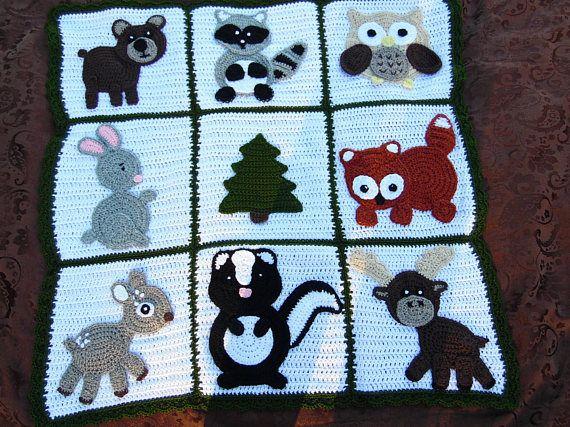 Woodland Baby Blanket Handmade Crochet Baby Blanket