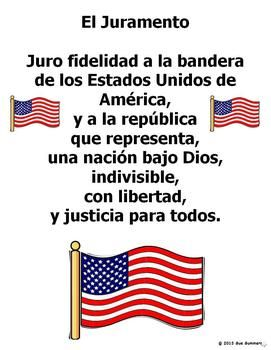 photo regarding Pledge of Allegiance in Spanish Printable known as Pledge of Allegiance in just Spanish - El Juramento S.S. And