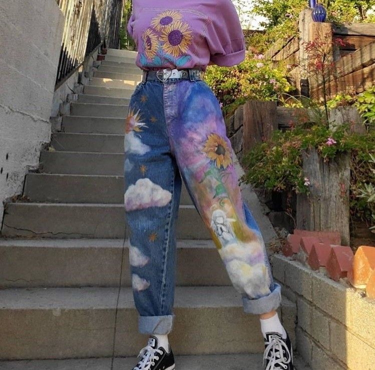 art hoe outfit aesthetic in 2020 | Painted clothes diy ...