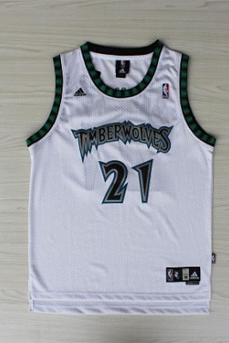 Kevin  Garnett 21 Minnesota  Timberwolves White Throwback Basketball  Jersey.  The name and numbers are stitched.  17.99 bit.ly 1mQNNgQ 7781d2d36