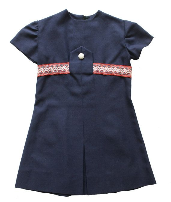 95121b3d74 VINTAGE 60 70 s   kids   dress   navy blue + large woven ribbon   new old  stock   size 6 years