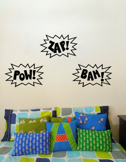Wall Art Decal POW ZAP BAM Superhero Or Comicbook Kids Vinyl - Superhero wall decals for kids roomssuperhero wall decal etsy