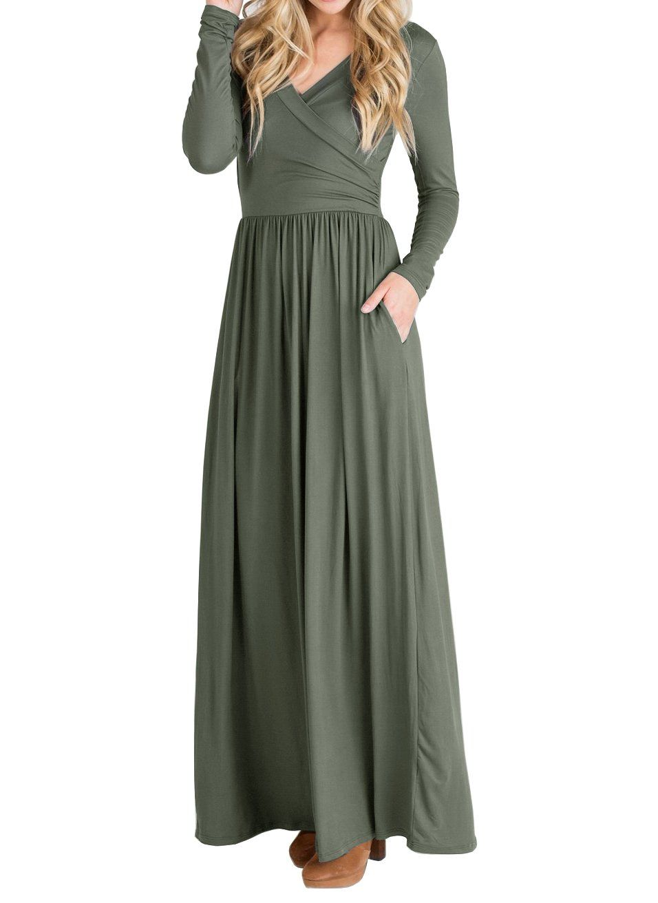 32230235d489 Maternity Styles - Beautife Womens Dresses Casual Long Sleeve V Neck Faux  Wrap Loose Plain Maxi Dress With PocketsGreenMedium -- You could obtain  added ...