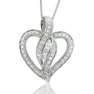 14k White Gold Heart Diamond Pendant Necklace (GH, I1-I2, 0.35 carat)  http://electmejewellery.com/jewelry/necklaces/14k-white-gold-heart-diamond-pendant-necklace-gh-i1i2-035-carat-com/